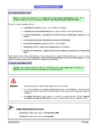 FORMULAIRE DE CESSION ET RACHAT D'UN ULM