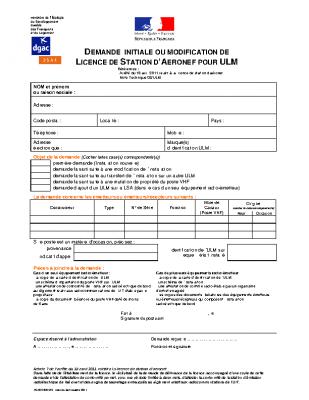 FORMULAIRE DE DEMANDE OU DE MODIFICATION DE LICENCE DE STATION D'AERONEF POUR ULM