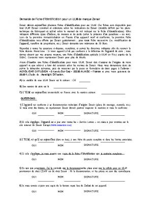 DEMANDE DE FICHE D'IDENTIFICATION