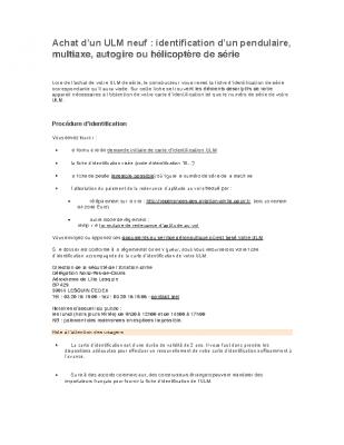 PROCEDURE D'ACHAT ULM NEUF : IDENTIFICATION D'UN PENDULAIRE, MULTIAXE, AUTOGIRE OU HELICOPTERE DE SERIE