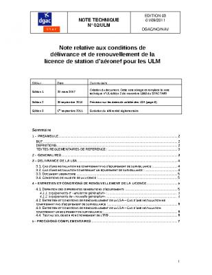 NOTE RELATIVE AUX CONDITIONS DE DÉLIVRANCE, RENOUVELLEMENT DE LA LICENCE DE STATION D'AERONEF ULM