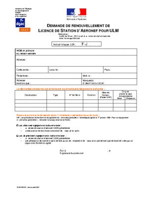 FORMULAIRE DE DEMANDE DE RENOUVELLEMENT DE LICENCE DE STATION D'AERONEF POUR ULM