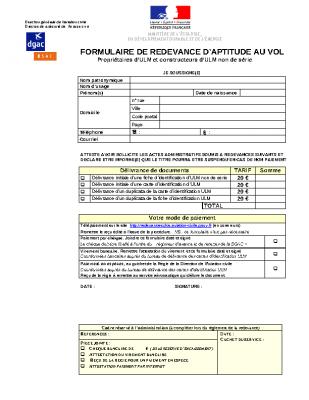 FORMULAIRE DE REDEVANCE D'APTITUDE AU VOL